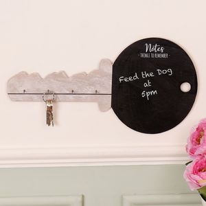 Key Shaped Chalkboard With Wooden Key Rack - chalkboards