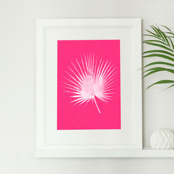 Tropical Pink Palm Leaf Print
