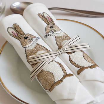 Set Of Two Embroidered Rabbit Napkins