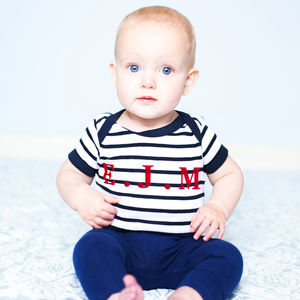 Personalised Baby Breton Stripe Bodysuit - clothing