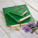 Handcrafted Emerald Green Embossed Leather Notebook