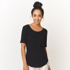 Black Ribbed Cotton Pyjama Tshirt - women's fashion
