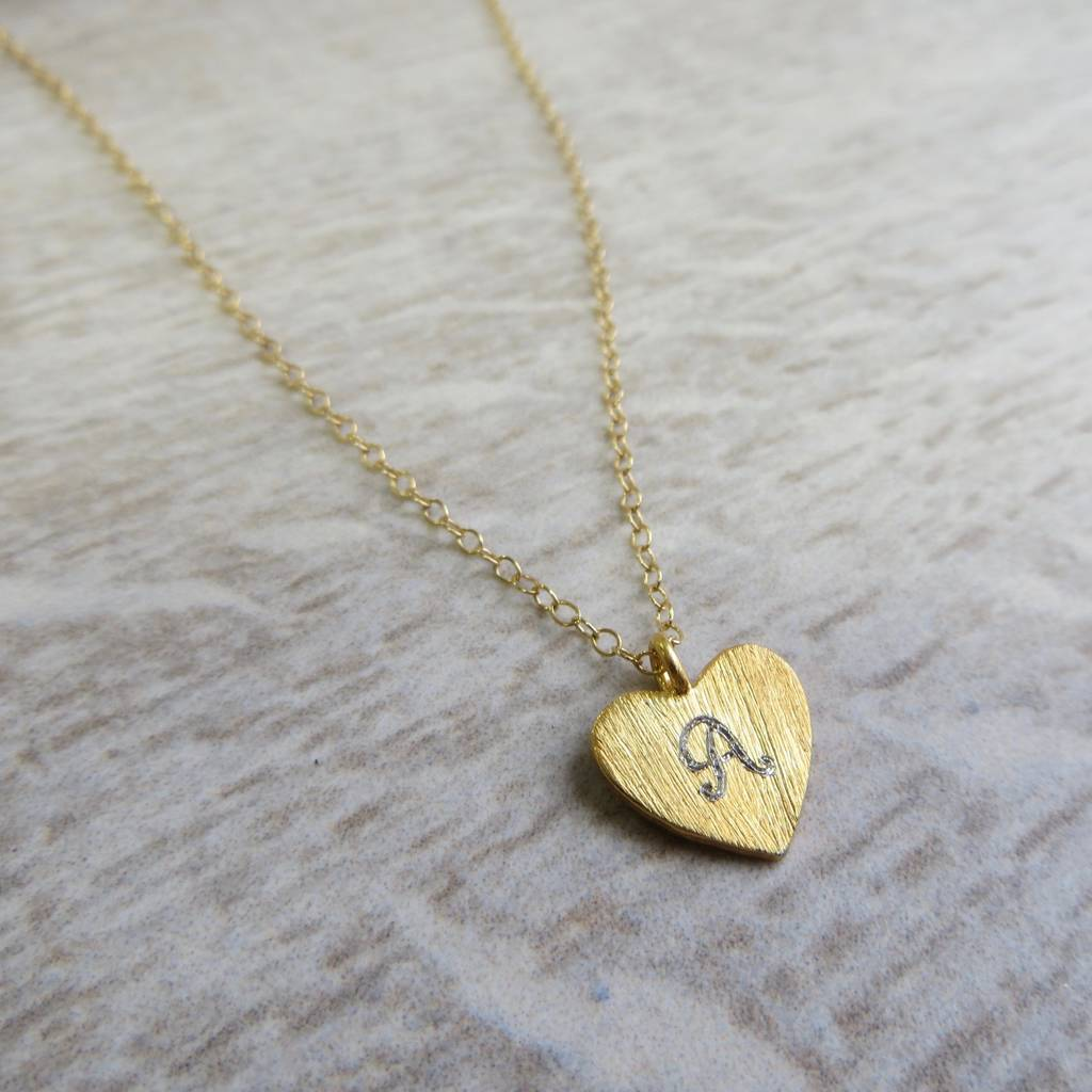engraved gold heart charm necklace by gracie collins ...