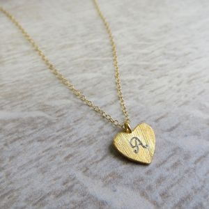 Engraved Gold Heart Charm Necklace - summer sale