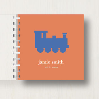 Personalised Kid's Train Small Notebook in orange