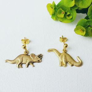 Brass Dinosaur Earrings - gifts for teenagers