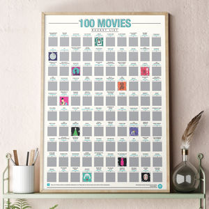 100 Movies Scratch Bucket List Poster - gifts for teenage boys