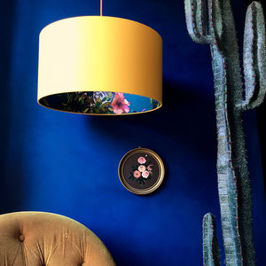 Lemur Handmade Wallpaper Lampshade In Egg Yolk - bedroom