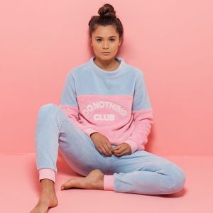 'Do Nothing Club' Fluffy Pyjama Set - lingerie & nightwear