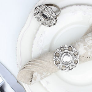 Pair Of Ornate Rose Napkin Rings