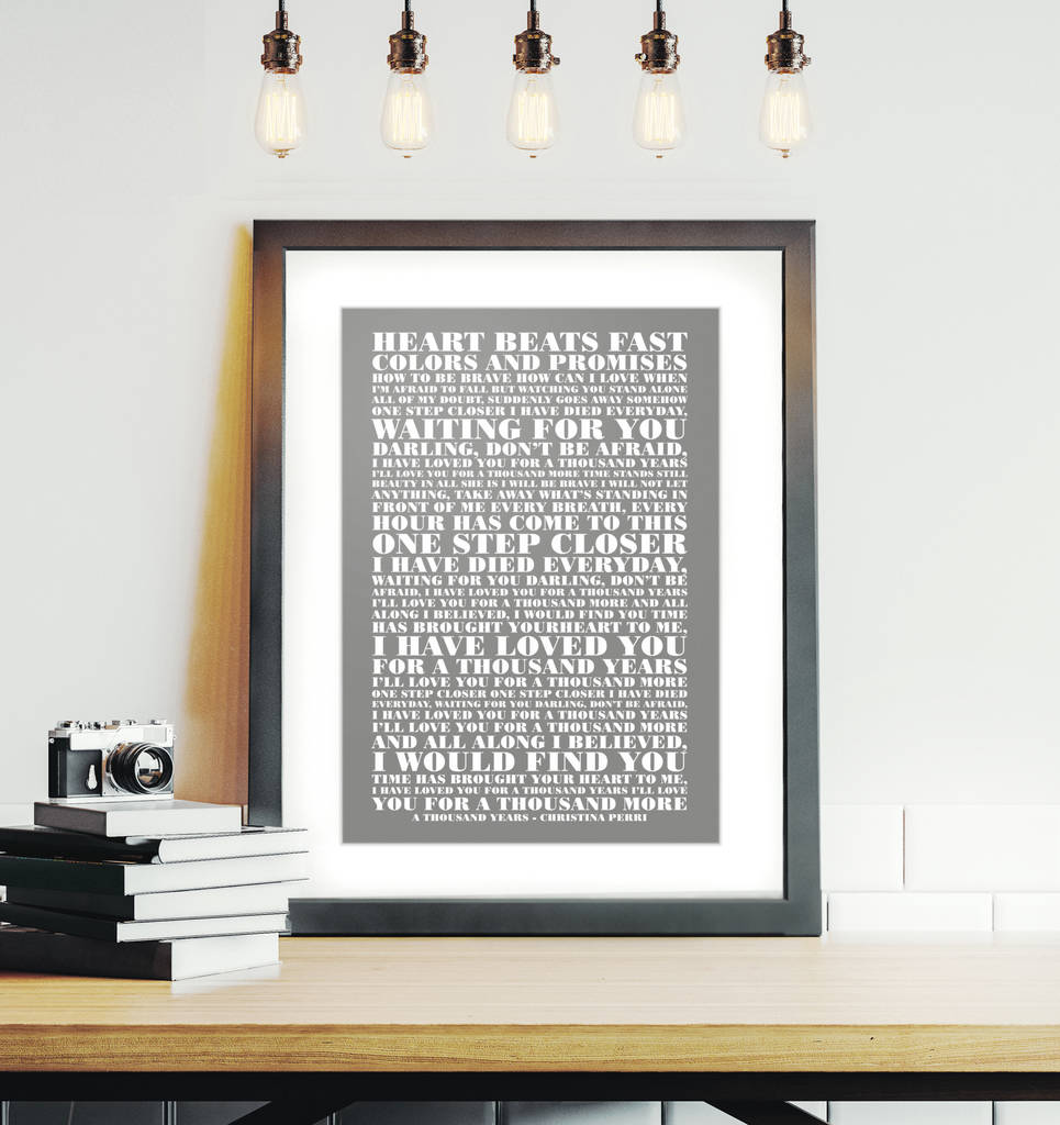 personalised your favourite lyrics framed print by over & over ...