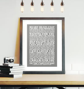 Personalised Your Favourite Lyrics Framed Print
