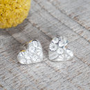Silver Sunflower Print Heart Stud Earrings