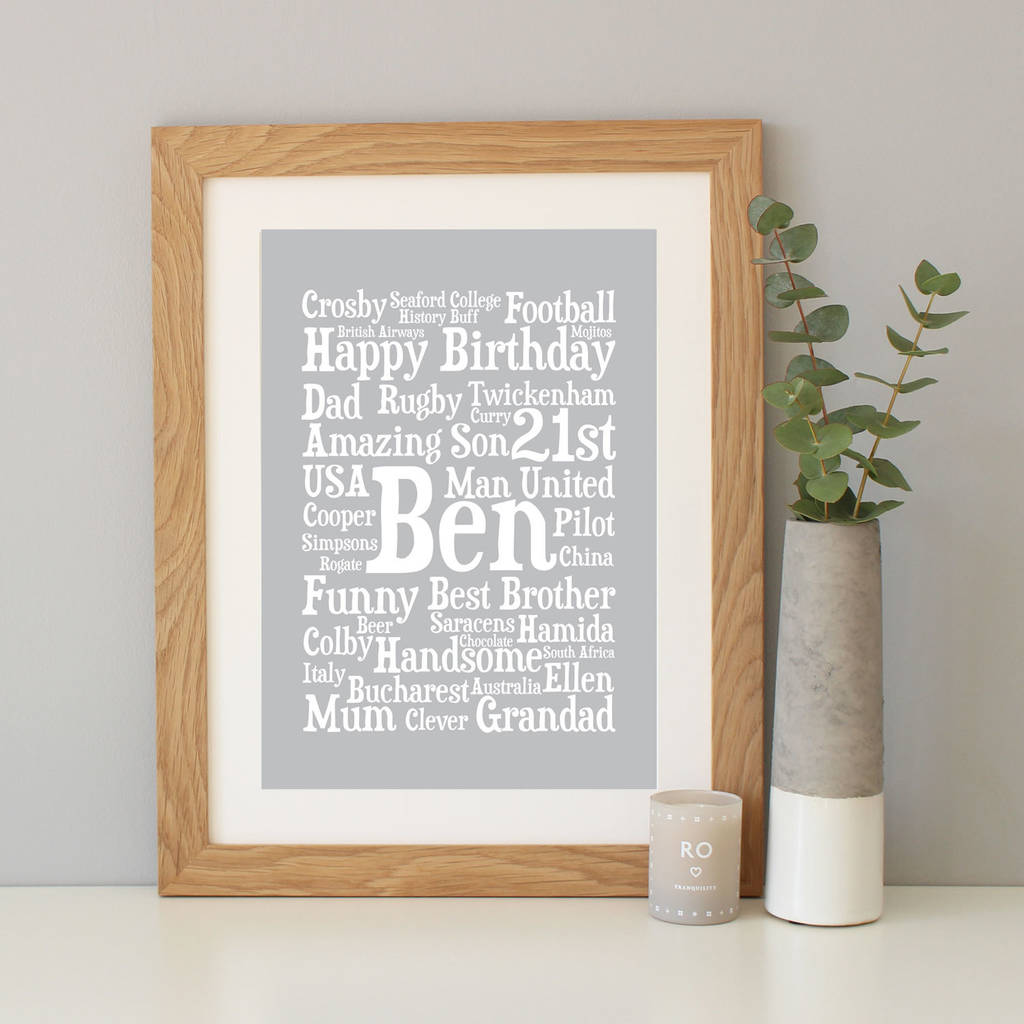 Personalised 21st Birthday Word Art Gift