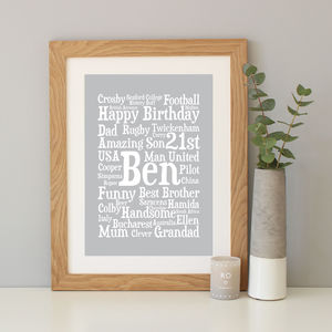 Personalised 21st Birthday Word Art Gift - dates & special occasions