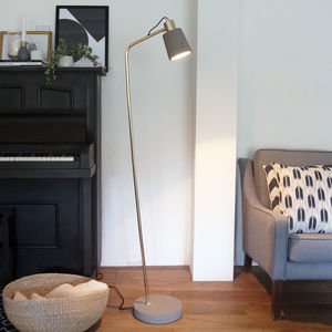 Minimalist Concrete And Brass Floor Lamp
