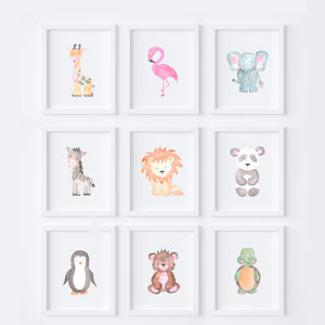 Nursery Safari Animal Baby Art Prints Set