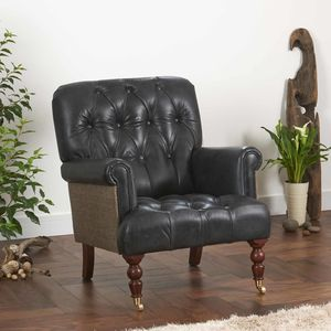 Imperial Buttoned Armchair Vintage Leather Or Tweed