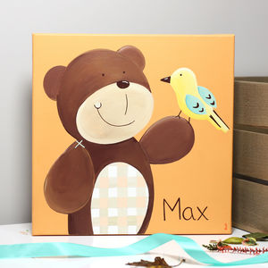Personalised Woodland Bear Canvas, Hand Painted - paintings