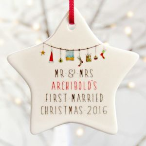 Mr And Mrs 1st Christmas Decoration Ceramic Star - cards & wrap
