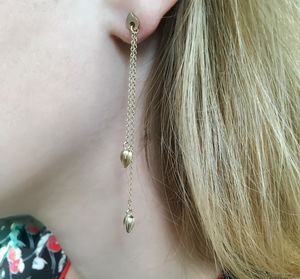 Long Droplet Gold Earrings