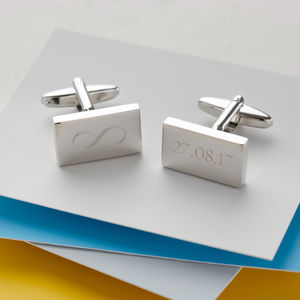 Personalised Engraved Infinity Cufflinks - winter sale