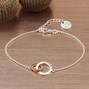Personalised Mixed Metal Infinity Rings Bracelet