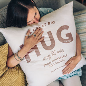 Personalised 'Hug Across The Miles' Locations Cushion - free delivery gifts to mainland UK