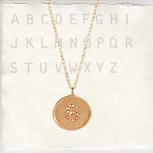 9ct Solid Gold Alphabet Pendant With Diamonds
