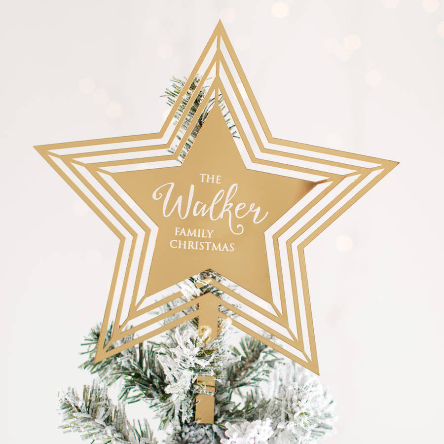 personalised star christmas tree topper - Christmas Tree Topper Star