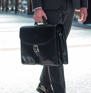 Mens Luxury Large Leather Briefcase.'The Tomacelli' - mens