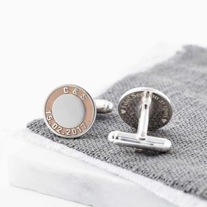 Silver And Rose Gold Initials And Date Cufflinks - gifts for the groom