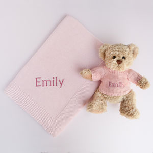 Personalised Baby Girl Bertie Bear With Blanket, Pink - decorative accessories