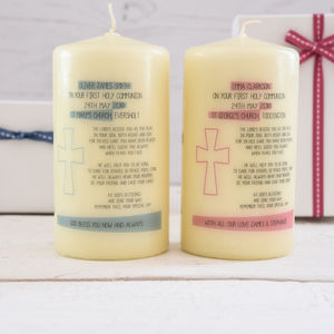 First Holy Communion Candle With Verse - holy communion celebrations