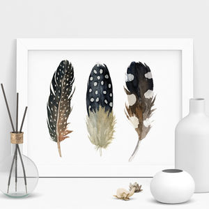 Bohemian Feather Print Watercolour Illustration - still life