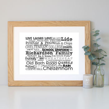 Personalised Family Mixed Typography Word Art Print