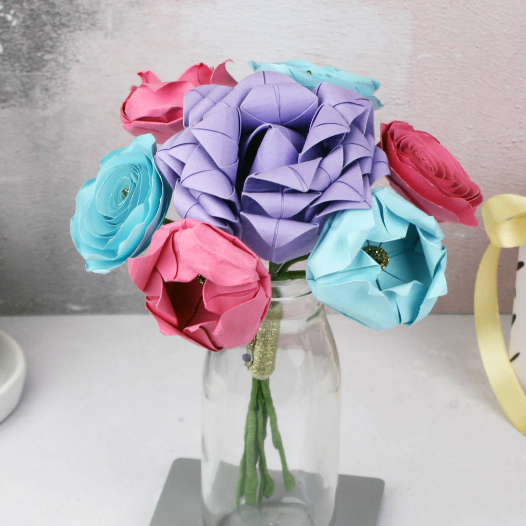 pastel paper flowers bouquet by the origami boutique ...