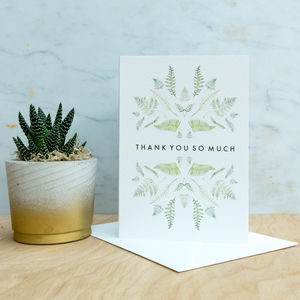 Thank You Botanical Watercolour Card - thank you cards