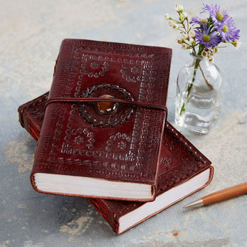 Handcrafted Indra Medium Stoned Leather Journal