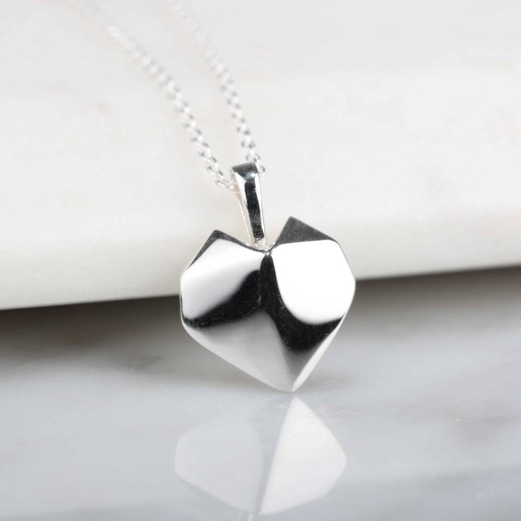 stunning silver origami heart necklace by nest ... - photo#12
