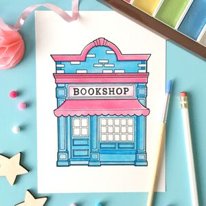 Bookshop Watercolour Print