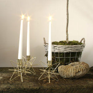 Set Of Three Gold Star Candle Holders - room decorations
