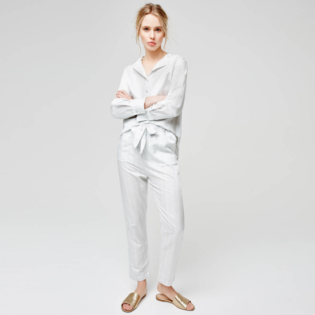 Luxury Cotton Silk Pyjamas With Delicate Stripe