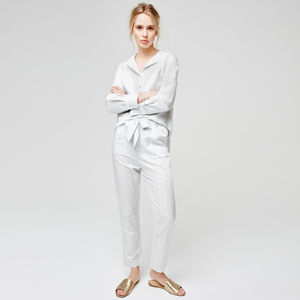 Luxury Cotton Silk Pyjamas With Delicate Stripe - gifts for her