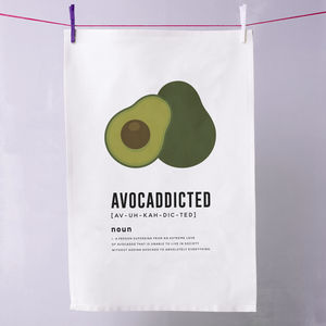 'Avocaddicted' Avocado Tea Towel - kitchen