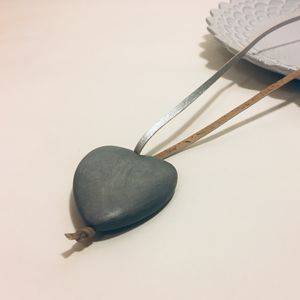 Grey Wooden Heart Necklace