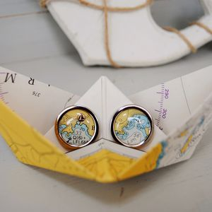 Nautical Chart Cufflinks In Paper Boat