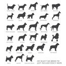 dog silhouettes chart for personalised pet cushion