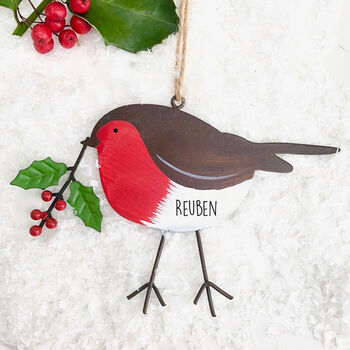 Personalised Red Robin Hanging Decoration