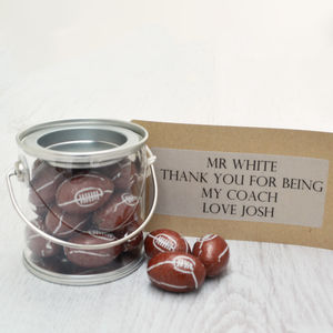 Mini Personalised Bucket Of Chocolate Rugby Balls